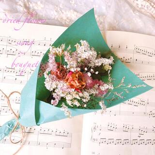 ドライフラワー White& ピンク バラとかすみ草  スワッグ ブーケ(ドライフラワー)