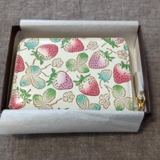 文庫屋大関  限定色 いちご柄 カードケース スウィートベリー