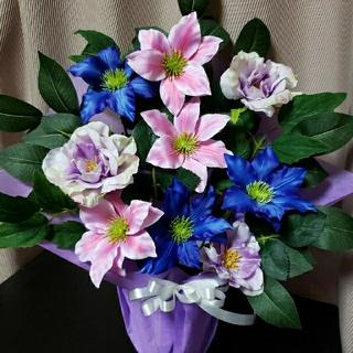 仏花 ピンク&ブルーのクレマチス(その他)