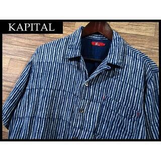 キャピタル(KAPITAL)のG① キャピタル ダブルガーゼ インディゴ染め オープンカラー 半袖 シャツ M(シャツ)