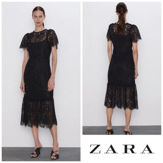 ZARA - 【タグ付き未使用】ZARA インナー付 総レースワンピース ブラック S