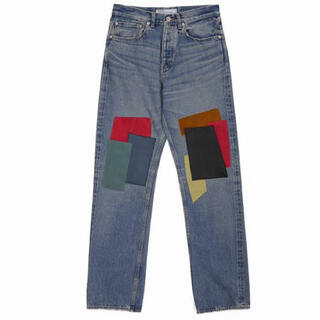SUNSEA - 27 dairiku leather patch work denim パンツ