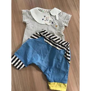 NARUMIYA INTERNATIONAL - babycheer ベイビーチアー 猫襟Tシャツ80&猫耳サルエルハーフパンツ