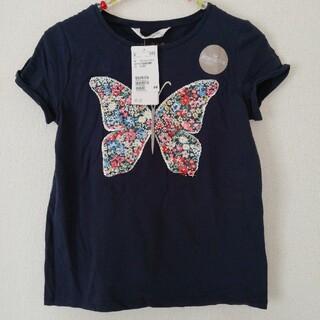 H&M - 【新品未使用】キッズ 女の子 H&M バタフライ半袖Tシャツ135/140cm