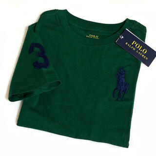 Ralph Lauren - 4T/110 新品 ビッグポニー×ナンバリング コットンTシャツ / グリーン