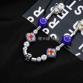 韓国 バタフライ スマイルネックレス ニコちゃん お花 ポップ パール 真珠