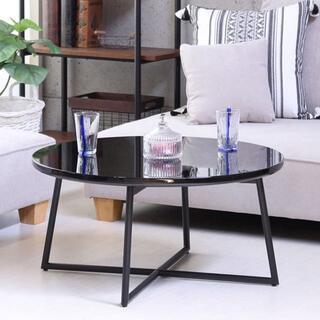 丸テーブル 鏡面ブラック色 ローテーブル/センターテーブル/632(ローテーブル)