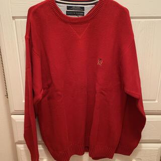 トミーヒルフィガー(TOMMY HILFIGER)のトミーヒルフィガー 赤ニット オーバーサイズ 古着(ニット/セーター)