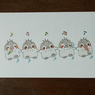 手描きイラスト  ペンギンのダンス  (アート/写真)