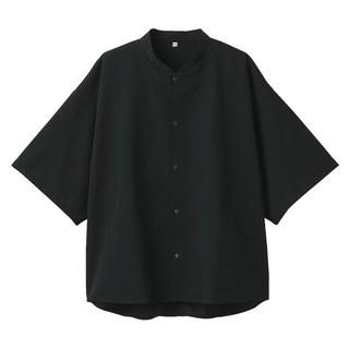 MUJI (無印良品) - 風を通すスタンドカラー半袖シャツ S~M・黒 ムジラボ