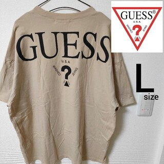 GUESS - GUESS ゲス 半袖Tシャツ ベージュ カットソー メンズ L オーバーサイズ