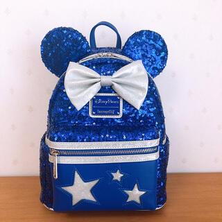 Disney - ラウンジフライ ディズニー ミニー スパンコール ブルー 青 リュック