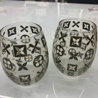 ルイ・ヴィトン風 ガラス グラス 2個セット ペアグラス