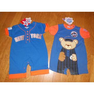 新品2枚★80/12M★NewYork Metsニューヨークメッツメジャーリーグ(ロンパース)