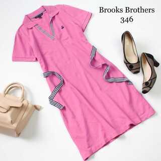 Brooks Brothers - ブルックスブラザーズ346★ポロシャツワンピース 半袖 ピンク 刺繍 XS