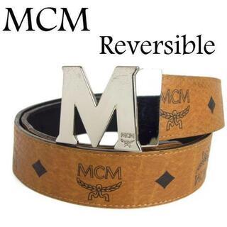 MCM - MCM メンズ ロゴグラム ヴィセトス リバーシブル クラウス レザー ベルト
