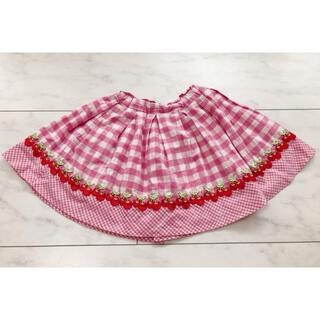 mezzo piano - メゾピアノ チェリー ギンガムチェック スカート 110サイズ