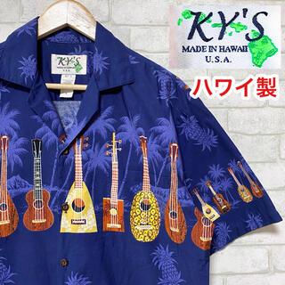 KY'S アロハシャツ パイナップル ウクレレ アロハシャツ ハワイ製 コットン