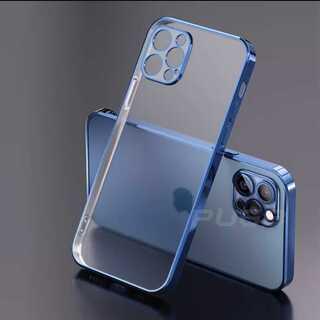 再入荷!クリア 透明 メタリック シンプル iPhone ケース スマホケース(iPhoneケース)