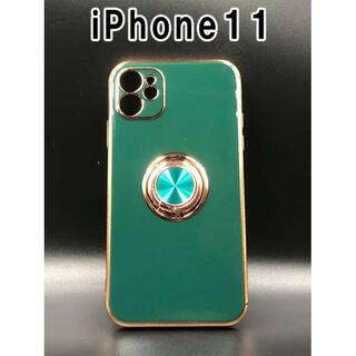 iPhone11 ケース 可愛い シンプル 韓国 人気 グリーン F(iPhoneケース)