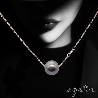 agete - アガット ブラックパール 真珠 K10 ペンダントネックレス