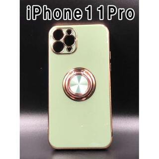 iPhone11Pro ケース 可愛い シンプル 韓国 ライトグリーン F(iPhoneケース)