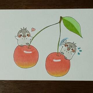 手描きイラスト  ペンギンとさくらんぼ(アート/写真)