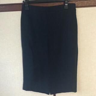 UNIQLO - UNIQLO ユニクロ ひざ丈タイトスカート ネイビー×黒  L