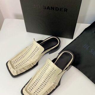 Jil Sander - 【新品未使用】Jil Sander レザー エスパドリーユ 37 オフホワイト