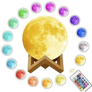 ★即日発送★ 12色に光る 月のランプ 15cm 無段階調光 リモコン付(フロアスタンド)