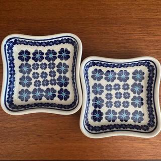 ポーリッシュポタリー セラミカ ブラウ 四方皿 2枚セット