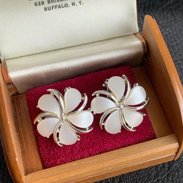 70'sUSA!KRAMER!ホワイトグロウ!ブレス&イヤリングセット レディースのアクセサリー(ブレスレット/バングル)の商品写真
