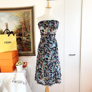 フェンディ(FENDI)の美品 FENDI フェンディ チュニック  ベア ワンピース シルク スカート(ひざ丈ワンピース)