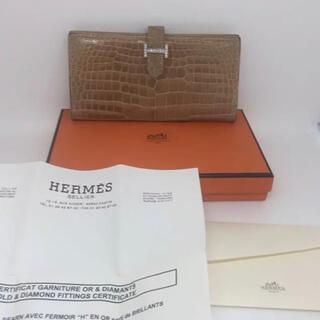 エルメス(Hermes)のHERMESクロコダイルwgダイヤモンドベアン 長財布(財布)