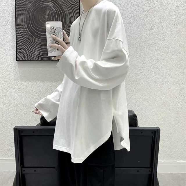 メンズ 無地 ビッグサイズ 長袖Tシャツ ストリート メンズのトップス(Tシャツ/カットソー(七分/長袖))の商品写真