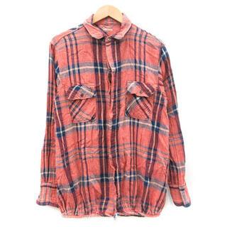 キャピタル(KAPITAL)のkapital チェックシャツ サイズ2 シワ加工 レッド 赤(シャツ)