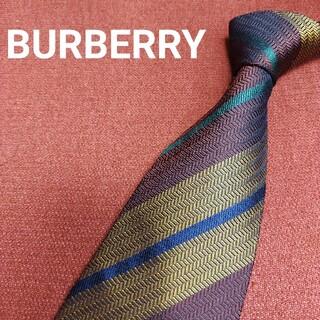 バーバリー(BURBERRY)の【美品】 BURBERRY バーバリー シルク ネクタイ ストライプ f35(ネクタイ)