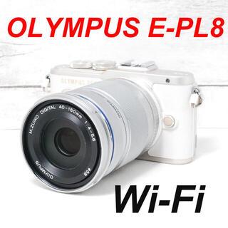 オリンパス(OLYMPUS)の❤️人気ホワイト❤️スマホ転送❤️OLYMPUS E-PL8(ミラーレス一眼)