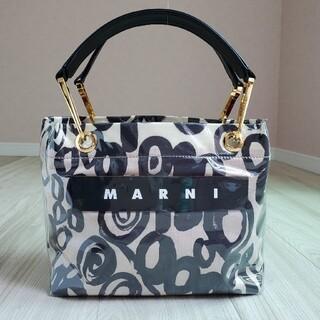 Marni - マルニ グロッシー ポリアミド トートバッグ アブストラク白黒 20AW 美品