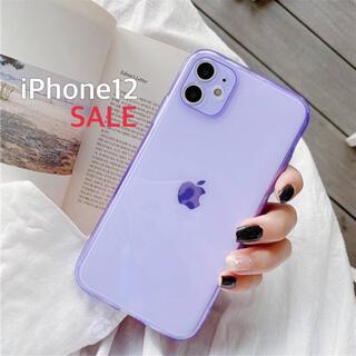 SALE♥︎カラフル シンプル iPhone12ケース パープル 透明 韓国(iPhoneケース)