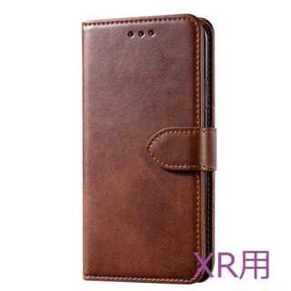 【iPhoneXR用:ブラウン】本革手帳型ケース カード収納有(iPhoneケース)