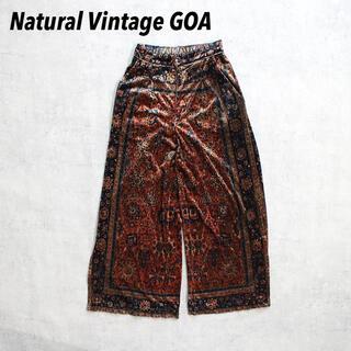 natuRAL vintage - Natural Vintage GOA ベロアパンツ 総柄 光沢 ストレット生地