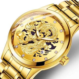 新品 ドラゴンウォッチ 黄金クォーツ 昇り龍金運アップ ゴールド メンズ腕時計