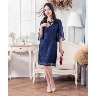 新品 カジュアルフォーマル シフォンフレア袖レースワンピース ドレス 紺色 M(ミディアムドレス)