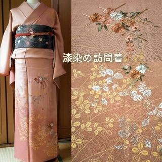 【 美品です‼ 】 漆染め 訪問着 正絹 花柄刺繍(着物)