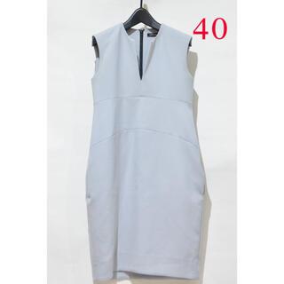 【40サイズ】可愛いヨーコチャンのノースリーブ春夏ワンピース水色グレー