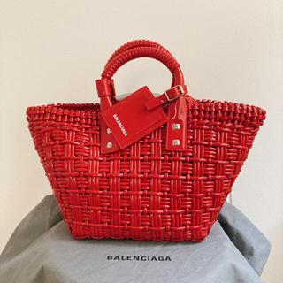 バレンシアガ(Balenciaga)の直営店購入・新品未使用 BALENCIAGA Bistro XS レッド(かごバッグ/ストローバッグ)