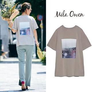 Mila Owen - ミラオーウェン 新品 バックプリントロゴTシャツ ベージュ