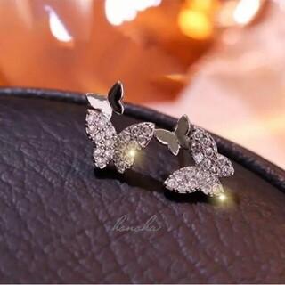4℃ - micro pave butterflies pierce ◯s925 post