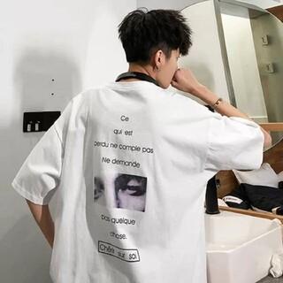 メンズ Tシャツ L  韓国 大人気 オーバーサイズ 半袖 春 夏 白